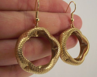 Large Snakeskin Gold Earrings, Unique Jewelry, Large Gold Earrings, Textured Gold Earrings, Gift for Women, Elegant Gift under 40