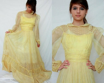 1940s Organdy Prairie Long Dress - Eyelet Lace - Palest Yellow - Wedding - Maxi - XS