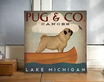 Custom Text Pug & Company Canoes READY-TO-HANG Canvas Wall Art -  Ready-to-Hang Canvas Signed