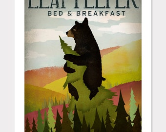 BLACK BEAR Leaf Peeper Bed and Breaskfast illustration Print  Signed FREE text customization