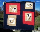 Paisley Toddler Art Quilt - Playmat in Red Tan Cream Navy Blue OOAK