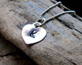Handstamped Heart Charm - Custom Initial Add On - Sterling Silver Personalized Necklace Add On
