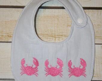 Seersucker Crab Bib, embroidered bib,