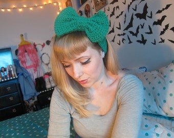 Green Sparkle Crocheted Big Bow Ear Warmer Headband