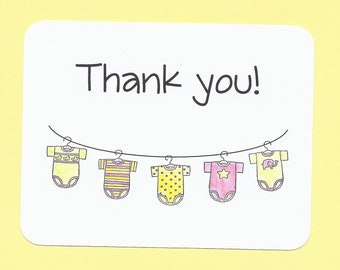 New Baby Folded Thank You Cards Baby Folded Note Cards Baby