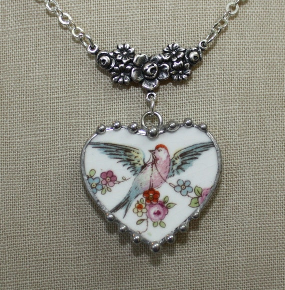 Broken China Jewelry Bluebird Bird with Floral Roses Swag Heart Necklace