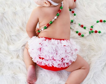 Christmas Ruffle Bloomer, Chiffon Ruffle Bum Baby Bloomers ,Diaper cover, Baby Girl Bloomers- Photo Prop - Holiday Chirstmas pictures