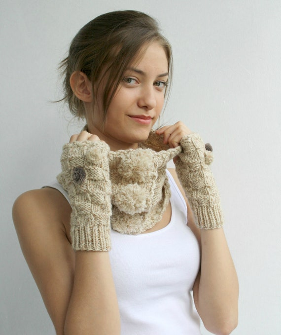 Wool Beige Tweed Neckwarmer and Mittens WARM SET With Pompom and hand Croched Button gift for her Christmas Gift