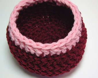 Storage Basket Yarn Bowl Home Organizer Black Cherry Dorm Decor Burgundy Pot Handmade Hostess Gift