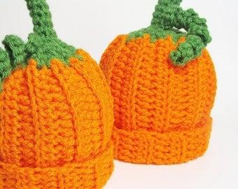 Pumpkin Hat Baby Beanie Orange Cap Infant Newborn to 3 months Child Autumn Accessory Whimsical Photo Prop Halloween Costume