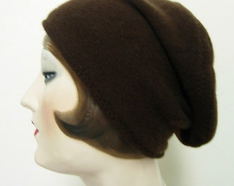 Pure Cashmere Rollup hat, slouch beanie, brown. FREE SHIPPING in the US
