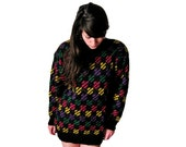 Colorful Sweater Dress, Wool Knitted Sweater, Oversize Sweater Dress, SMALL, MEDIUM