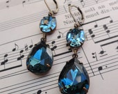 Vintage Swarovski Indian Sapphire Blue Earrings Bluegrass Retro Bridal Bridesmaid Jewelry