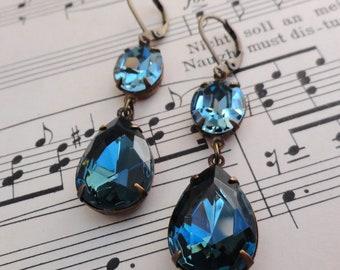 Vintage Swarovski Indian Sapphire Blue Earrings Bluegrass Retro Bridal Bridesmaid Jewelry