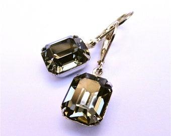 Simplify Earrings Black Diamond Swarovskis with Silver Settings