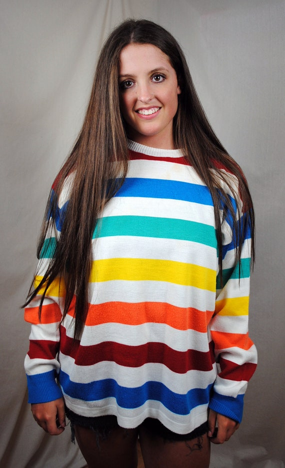 Ocean Pacific Vintage 80s Rainbow Striped Oversized Surf Crew Sweater