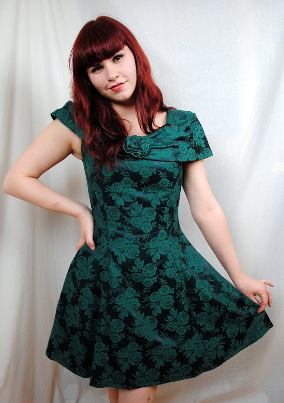 Vintage Mainframe 80s Emerald Green Prom Dress