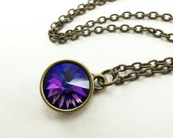 Multi Color Crystal Circle Necklace Swarovski Pendant Necklace Crystal Jewelry Purple Blue Brass