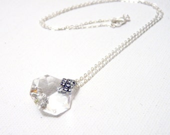 Sparkling Crystal Flower Necklace- Silver Plated - small-   Upcycled antique chandelier prism pendant- Reclaimed Beauty- made to order