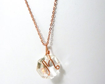 Letter M Crystal Initial Necklace- Copper - small- Upcycled antique chandelier prism pendant- Reclaimed Beauty