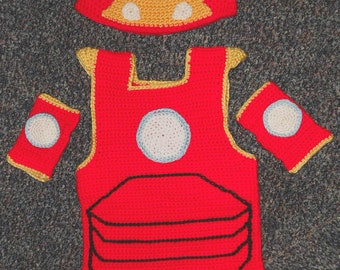 Man of Iron *inspired* Vest, Hat and Gloves Crochet Costume Pattern for  2T-5T