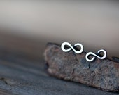 Tiny Infinity Earrings, Small modern everyday 925 sterling silver earrings, oxidized, polished, 8 shape earrings - unisex, for man, woman