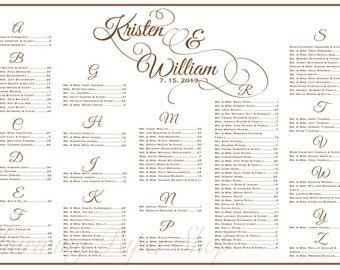 Wedding Seating Chart, Table Seating, Assignments, Reception Tables, Wedding Seating Plan, Wedding Seating Template with Flourished names