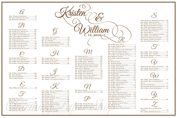 Wedding Seating Chart Table Seating Assignments Reception – Seating Chart Templates