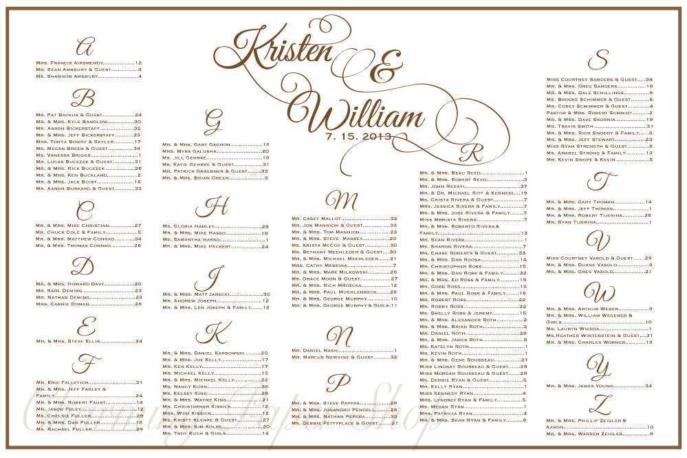 Wedding Seating Chart Table Seating Assignments Reception – Guest Seating Chart Template