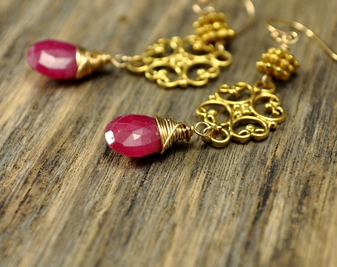 Red Ruby Gold Filigree Earrings