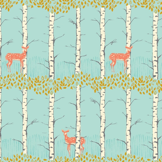 Fawn in Birch Blue from Timber and Leaf by Sarah Watts - Half Yard