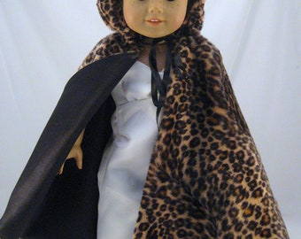 American Girl sized Faux Fur Hooded Cape