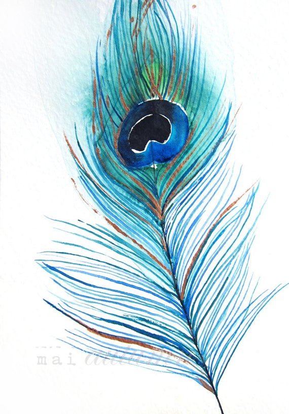 Peacock Feather II - Original Watercolor Painting - Botanical ...