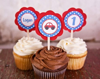 Cars Theme Cupcake Toppers, Car Theme Happy Birthday Party Decorations in Red & Blue (12)