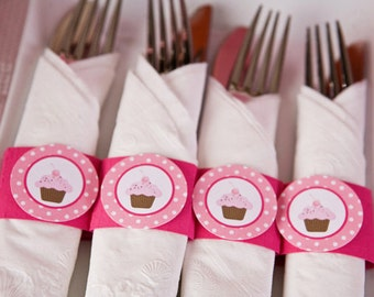 Cupcake Birthday Party - Napkin Rings - Silverware Wraps - Cupcake Party Decorations in Hot & Light Pink (12)