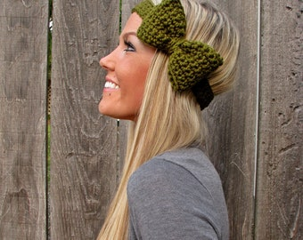 Olive Green Crochet Bow Headband w/ Natural Vegan Coconut Shell Buttons Adjustable Hair Band Girl Woman Teen Head Wrap Cute Knit Accessories