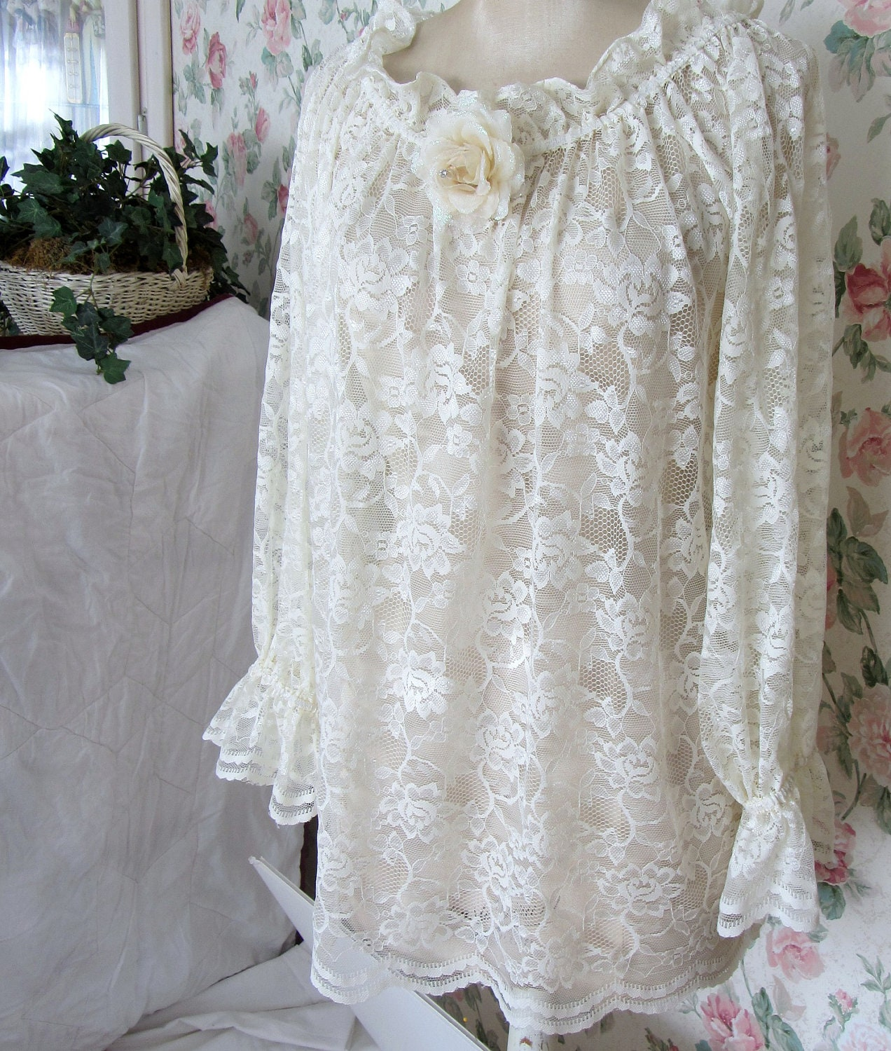 shabby chic clothes peasant top large ivory lace blouse