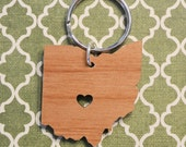 Columbus, Ohio Love Wood Key Ring