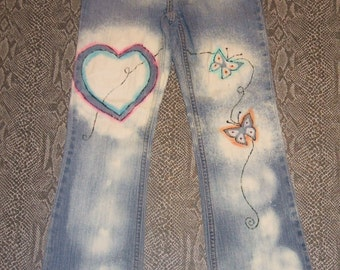 Place Blue Jeans Girls size 10  Brand Recycled Hand Painted Girls Size 10 Jeans Bleach Stenciled Upcycled Girls Jeans