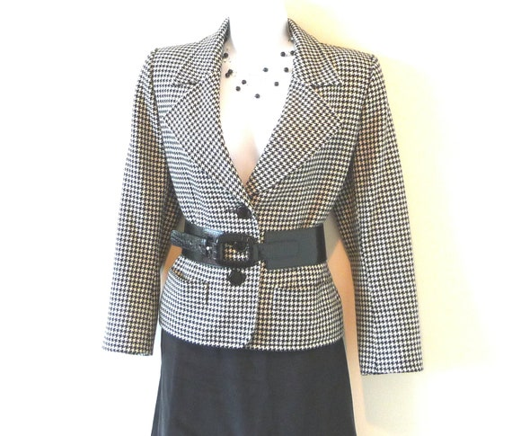 size 8, size 38, Yves Saint Laurent, Rive Gauche, YSL, Paris, France, designer, houndstooth, cashmere, tailored, Derby