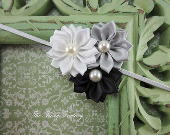 Satin Flower Headband - Silvery Gray, Black, & White Satin Flower Trio w/ Pearls Headband - The Emily - Baby Toddler Child Girls Headband
