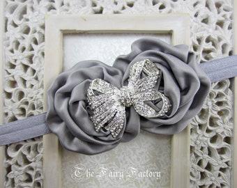 Silver Gray Flower Headband, Gray Satin Rosette Duo w/ Rhinestone Bow Headband, Flower Girl Wedding, Baby Toddler Child Girls Headband