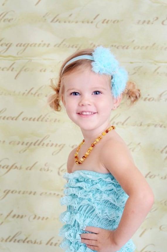 Sky Blue / Aqua Hair Bow - Sky Blue Chiffon Hair Bow with Pearls Stretchy Aqua Headband - Chic Couture - Shabby Chic - Baby Toddler Girl