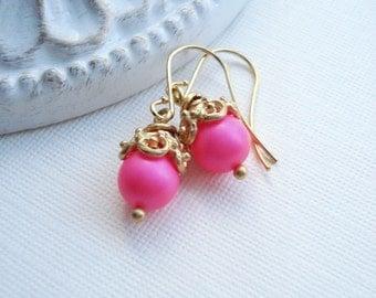 Neon Pink Earrings In Gold, Neon Earrings, Trendy Neon, Hot Pink Earrings. Modern Jewelry Fashion Earrings, Gold Earrings