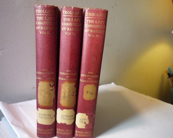 Instant Collection - The Red Collection - Set of 3 Beautiful Red Books - Anthony Trollope - The Chronicles of Barsetshire