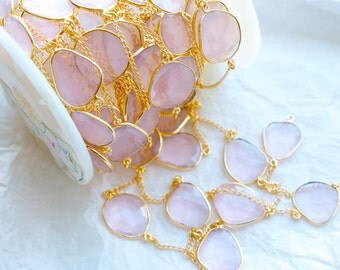 2 Feet Princess Pink Quartz in Bezel Setting with Gold Chain