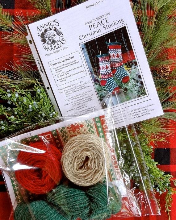Rustic Christmas Stocking Knitting KIT  Peace Theme