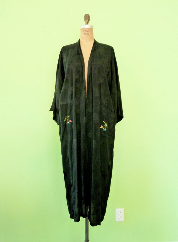 Embroidered Asian Robe Black Brocade Kimono Silky Rayon