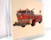 Vintage Retro Fire Truck Magnet