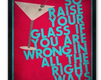 Raise Your Glass / Pink / Lyric / DIGITAL Typography Poster / Printable